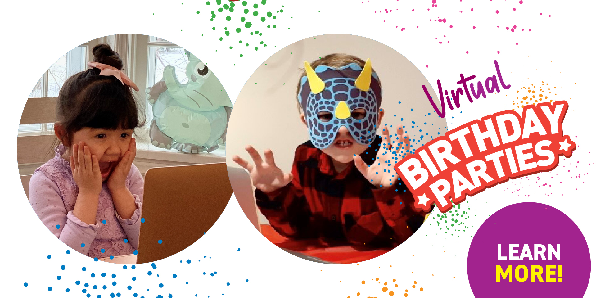 Two Happy kids having a Virtual Birthday Party - Click to learn more
